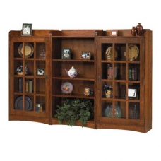 Amish Mission Revival Three Piece Bookcase