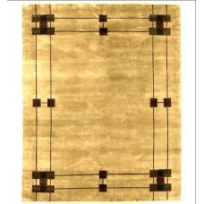 The Prairie Border Rug in Wheat