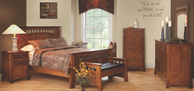 Our Bridgeport Bedroom Collection Is Amish Built With Quality Quartersawn White Oak Featuring Curved Arches Connected To Perfectly Ed Slats